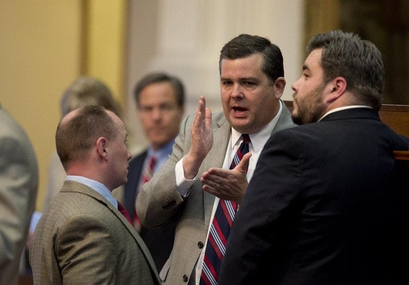 Texas State Rep. Larry Phillips, R-Sherman, sponsor of open carry legislation that passed last Friday, discusses his bill. (Photo: Bob Daemmrich/Texas Tribune)