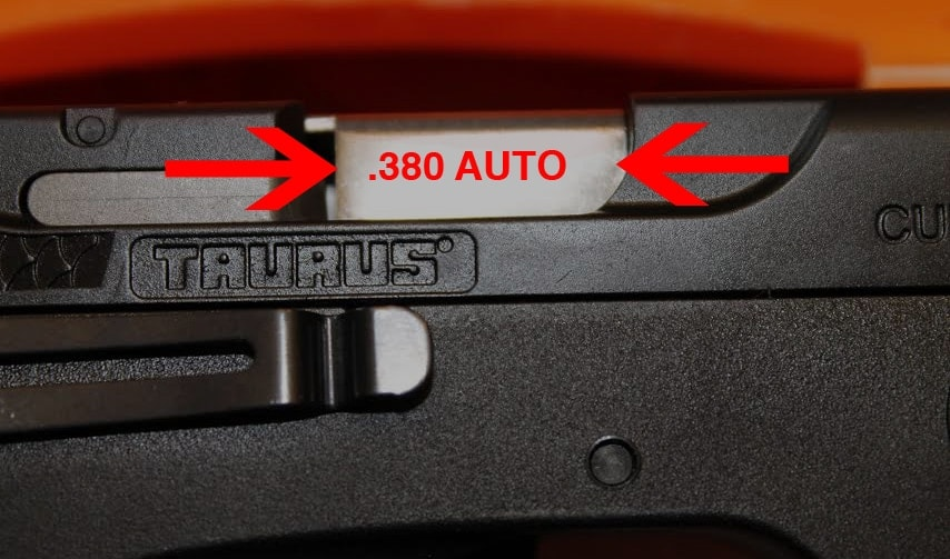 """You'll know if your Taurus Curve is affected because it will be missing """".380 AUTO"""" on the barrel. (Photo: Jacki Billings)"""