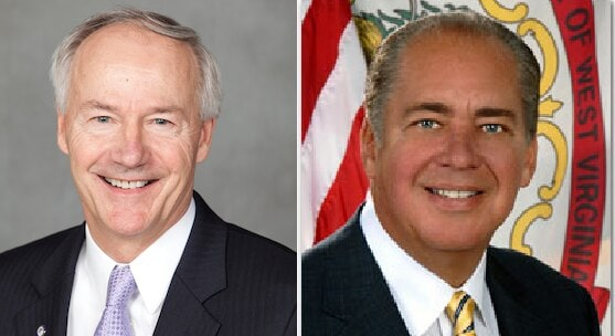 Governors Asa Hutchinson, R-Arkansas, (L) and Earl Ray Tomblin, D-West Virginia, both signed popular shall certify measures into law this week.