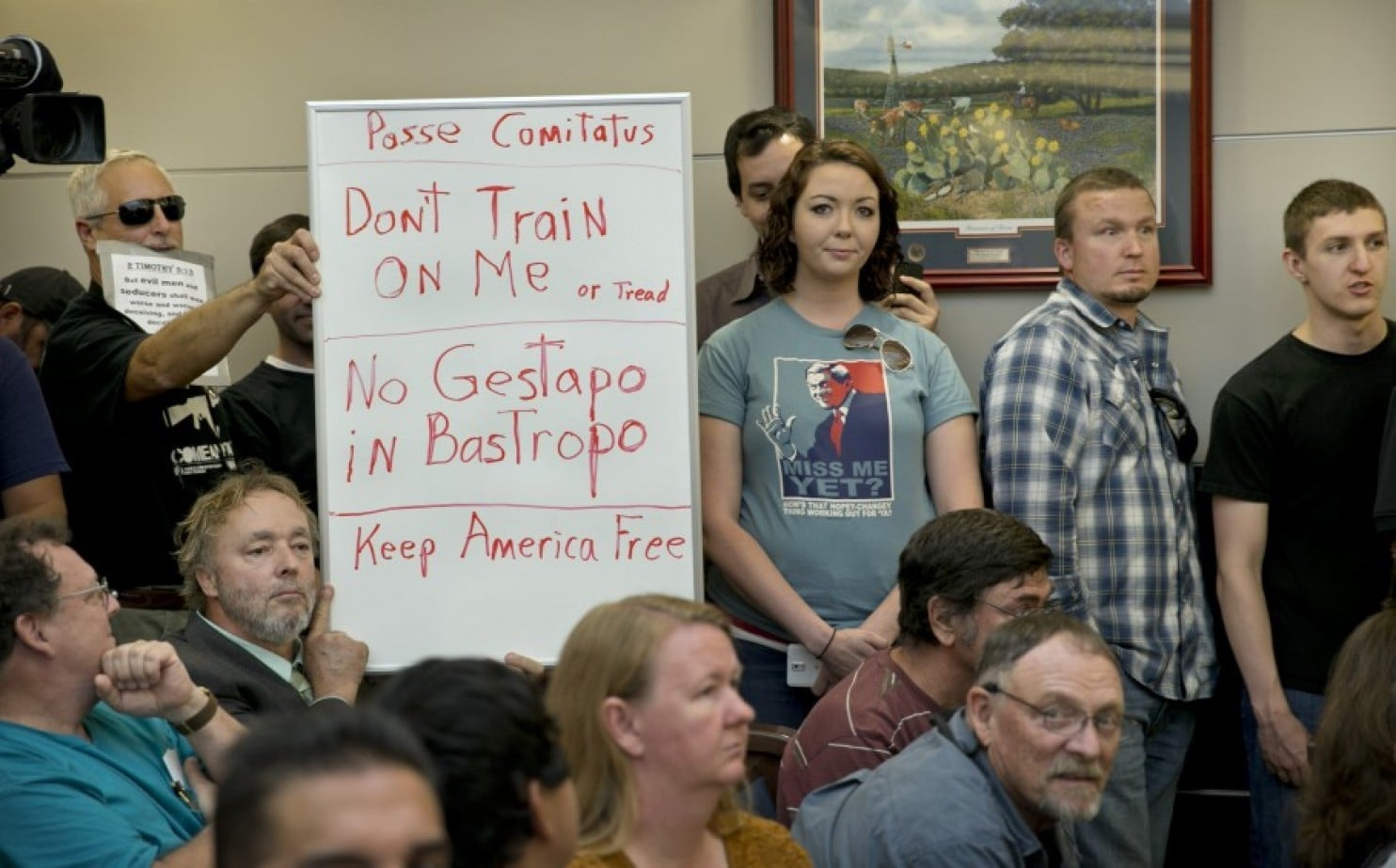 Local residents in Bastrop County Texas this week protested an upcoming military exercise in the state, leading Gov. Abbott to call out the State Guard to monitor the event. (Photo: Austin American-Statesman)