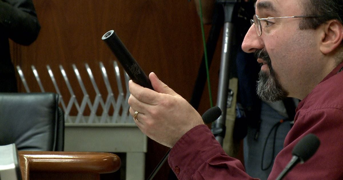"""I'm not allowed to own this in Minnesota, because even though it could save my hearing, it would make me a felon to possess this,"" gun rights advocate Andrew Rothman, told House lawmakers last month of suppressors. (Photo: Kare11)"