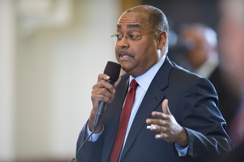 State Sen. Rodney Ellis, D-Houston, crossed the aisle to help support passage of a House bill to bring open carry to Texas last week. (Photo: Bob Daemmrich/Texas Tribune)