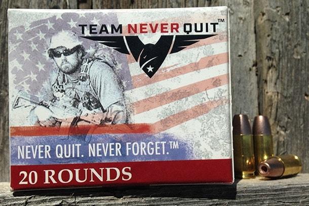 Team Never Quits 9mm Frangible ammunition handgun