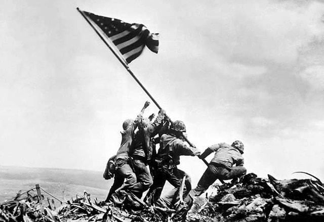 Raising the Flag on Iwo Jima is a historic photograph taken on Feb. 23, 1945, by Joe Rosenthal.