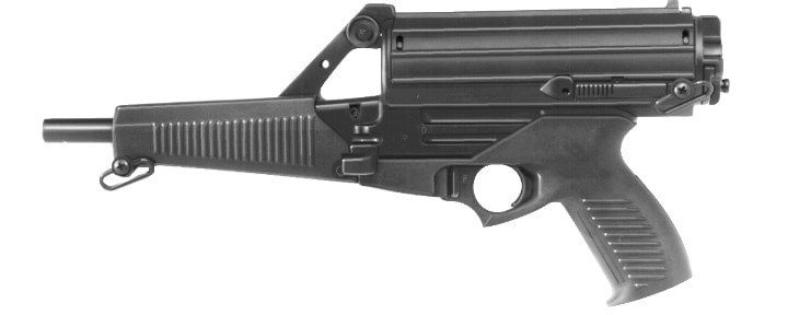 The Calico M950 pistol with its distinctive 50-round helical magazine. Can you say non-California legal?