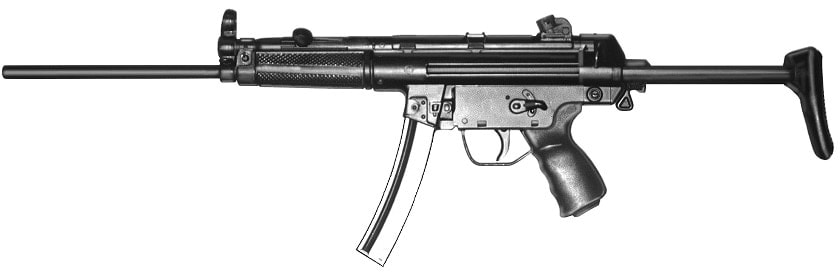 The HK94 was a semi-auto carbine version of the MP5 and is banned in Caliifornia