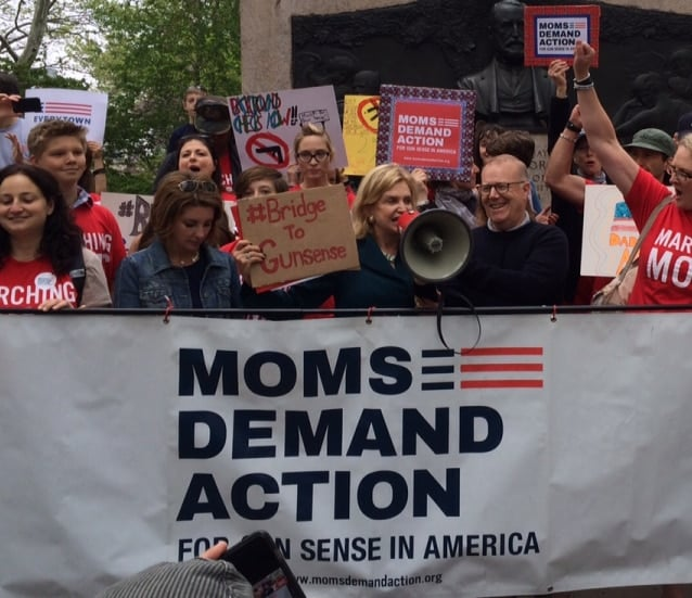 U.S. Rep. Carolyn Maloney, D-N.Y., addressing the crowd on May 11, 2015 at Moms Demand Action's Brooklyn Bridge March, where she harangued those in attendance about increasing regs on gun shows. (Photo: maloney.house.gov)