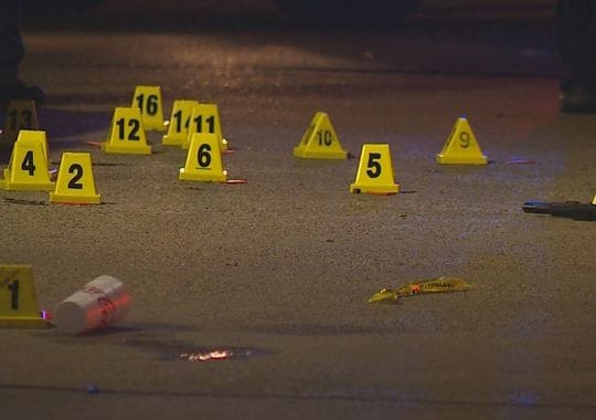 Authorities did not confirm how many shots were fired, but several bullet casing were marked at the scene. (Photo: WFAA)