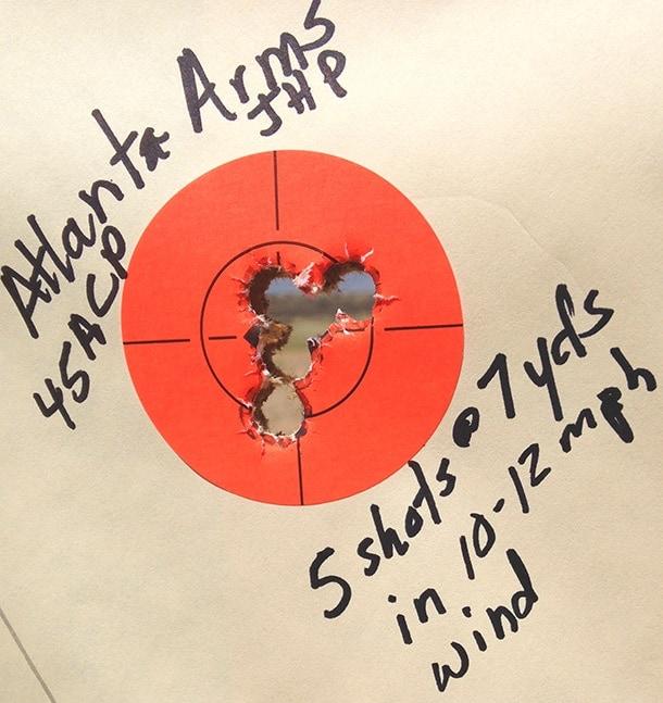 Atlanta Arms .45 ACP 5 shots @ 7 yards