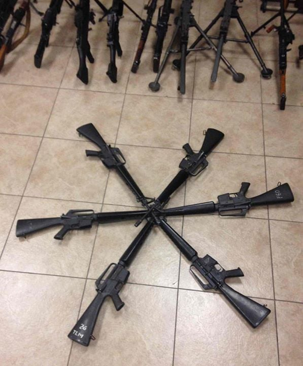 How about a half dozen select-fire M16A1s? Dig those handguards and rack numbers.