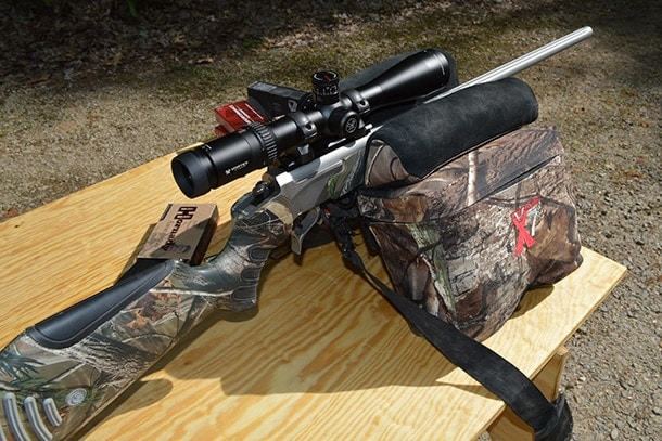 Bulls Bag X7 shooting rest with rifle