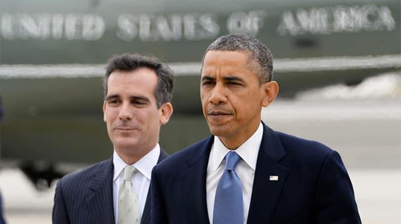 President Barack Obama and Los Angeles Mayor Eric Garcetti