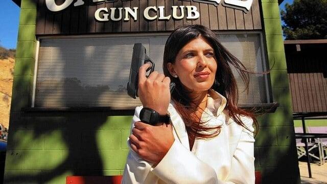 Belinda Padilla, chief executive of Armatix USA Inc., shows off the company's iP1. (Photo: Genaro Molina / Los Angeles Times)