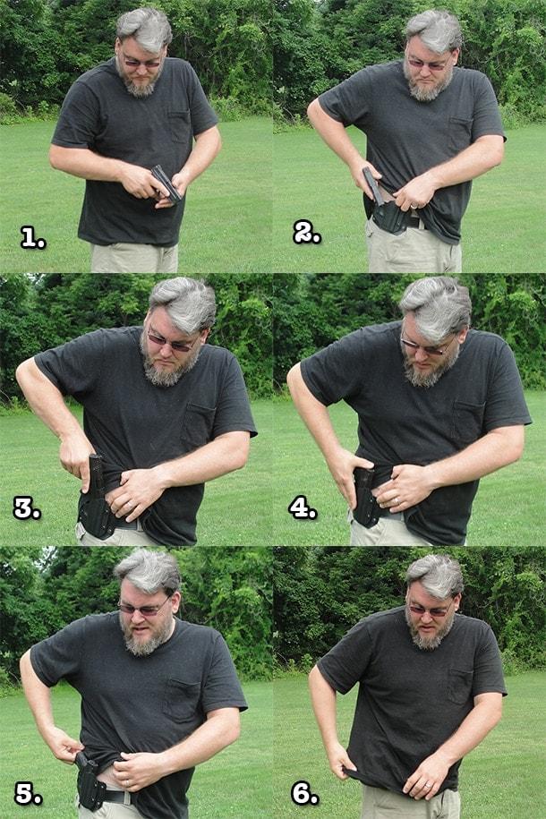 reholstering handgun steps
