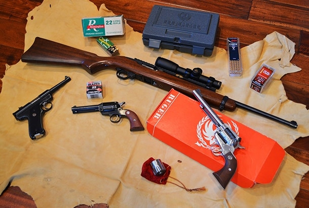 collection of Ruger rimfire firearms