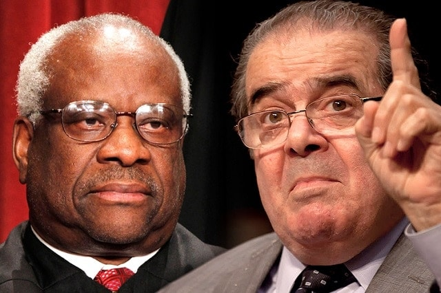 """""""There is consequently no question that San Francisco's law burdens the core of the Second Amendment right,"""" wrote Justice Clarence Thomas in a dissent joined by Justice Scalia to the Supreme Court's refusal to hear the Jackson case Monday. (Photo: Composite via Salon)"""
