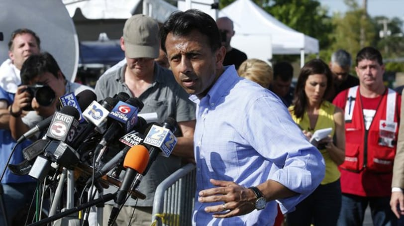 Gov. Bobby Jindal of Louisiana spoke to reporters on Friday, the day after two people were killed in a shooting at a movie theater in Lafayette, La. (Photo: Getty Images via The New York Times)