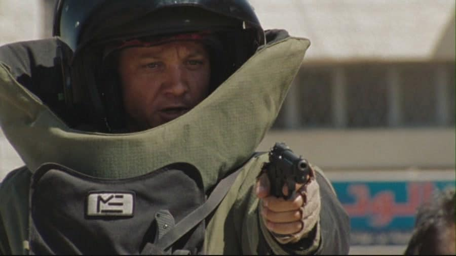 """Jeremy Renner plays Sgt. 1st Class William James in """"The Hurt Locker,"""" a film about an Army Explosive Ordnance Disposal team during the Iraq war."""