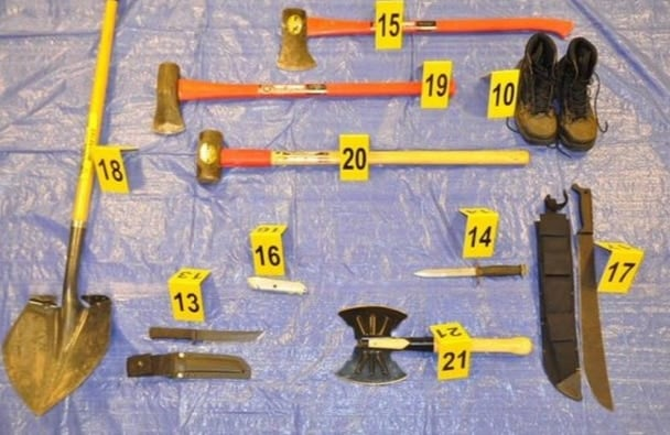 Some items found in Falls' car