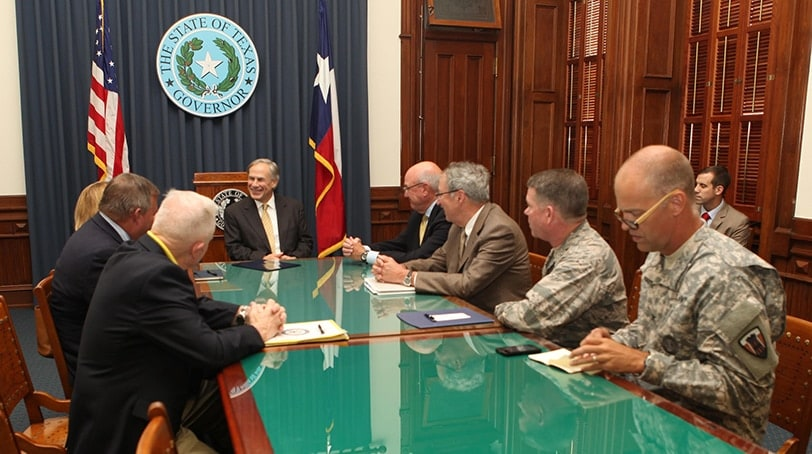 Gov. Abbott Meets With National Commission on the Future of the Army on Friday, July 10, 2015. (Photo: Texas Office of the Governor)