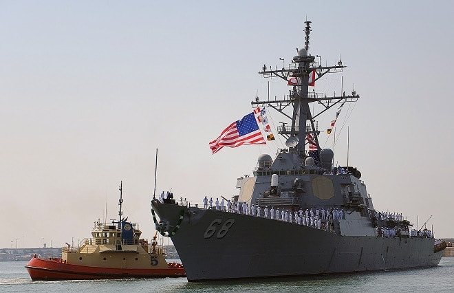 USS The Sullivans in 2013 returning to port.