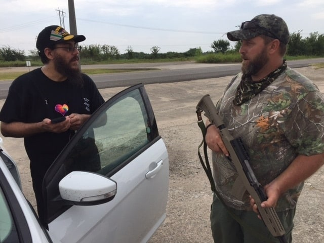 Navy veteran Chris Martin, 49, converted to Islam while serving in the military. He spoke with one of the armed citizens guarding the Oklahoma gun shop declared Muslim-free. (Photo: Muskogee Now)