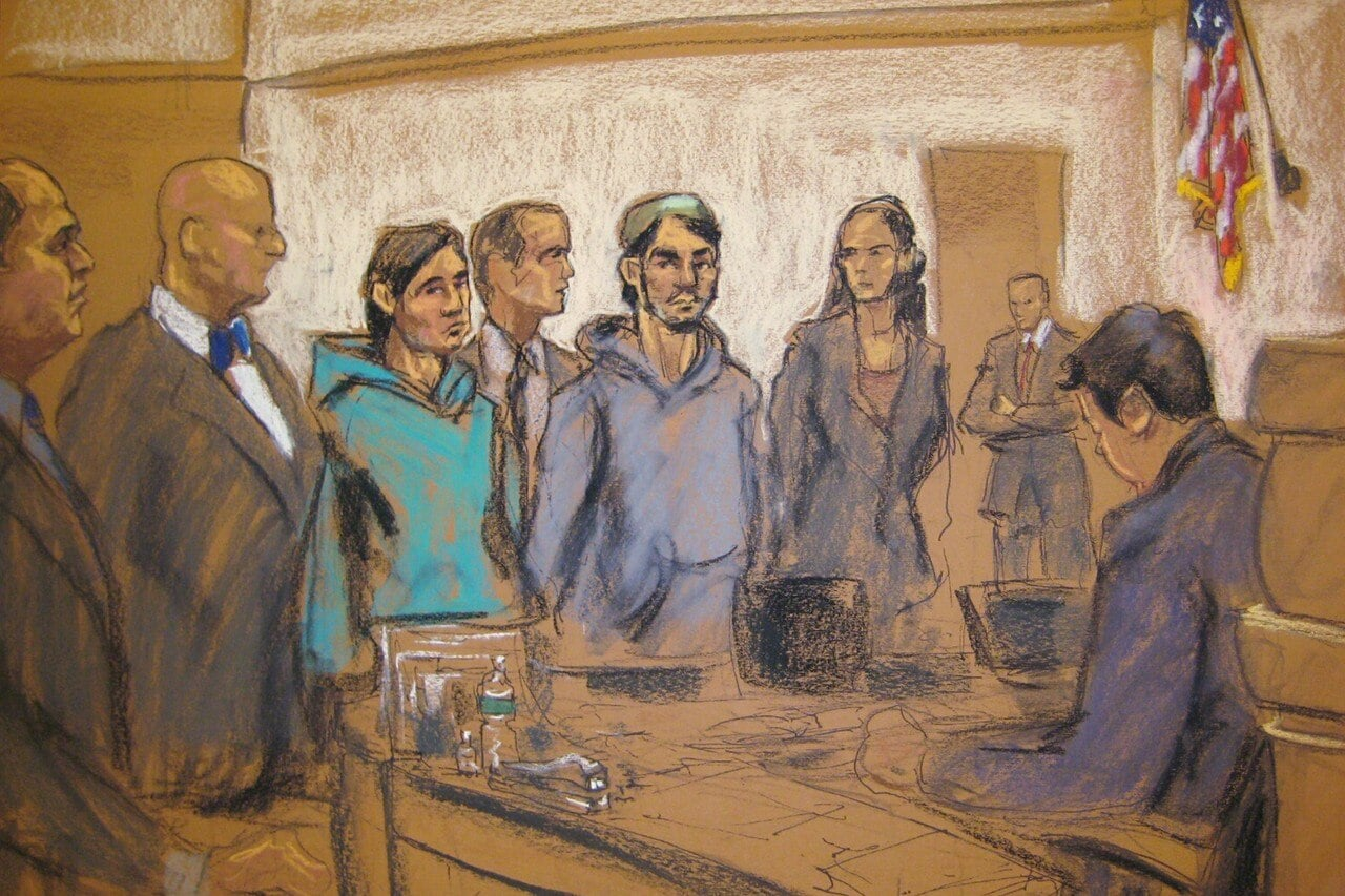 This courtroom sketch shows Abdurasul Hasanovich Juraboev and Akhror Saidakhmetov with a court interpreter in federal court in Brooklyn in February. (Photo: Reuters)