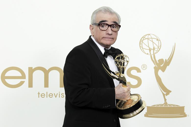 Director Martin Scorsese with his Emmy Award for Boardwalk Empire.