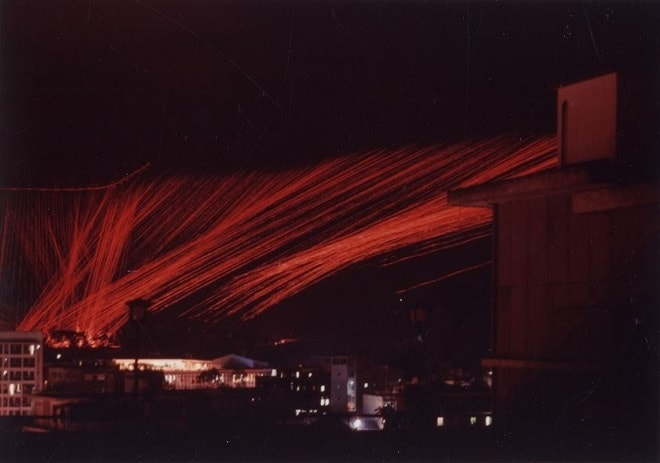 Time lapse photograph of an AC-47 helping defend Tan Son Nhut Air Base during the enemy Tet Offensive in 1968.