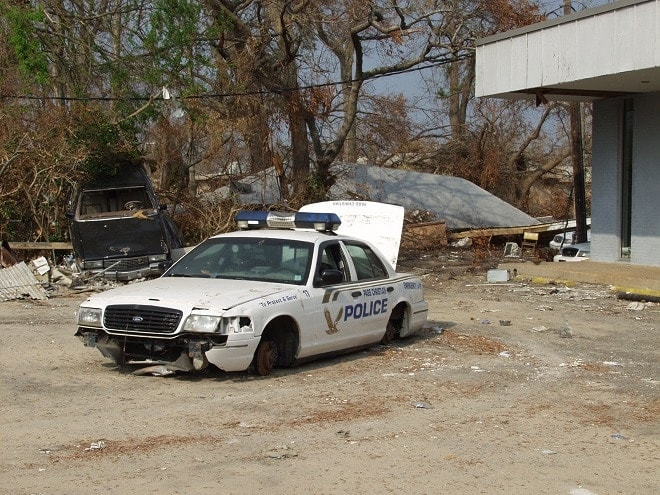 washed.out.katrina.police.car