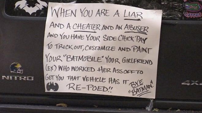 cheating boyfriend Batmobile