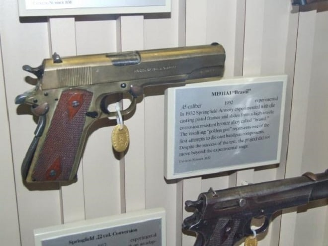 colt 1911 brasil in display case