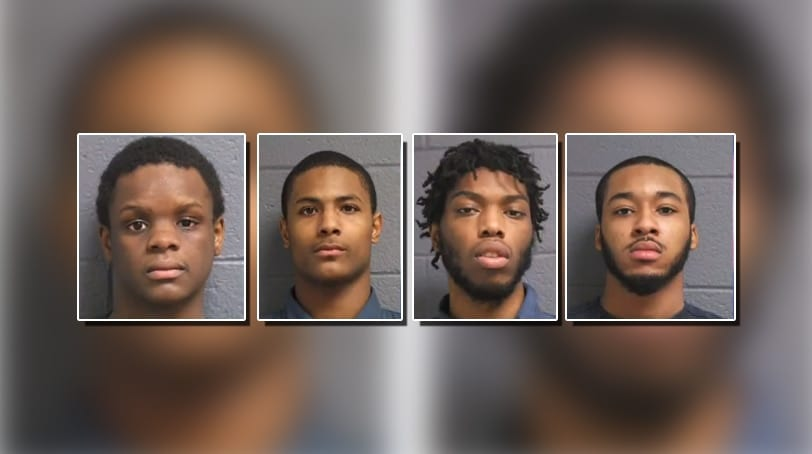 Four of the eight gang members who were captured after authorities followed their virtual trail of crime. (Photo: Detroit Police Department via ABC 7)