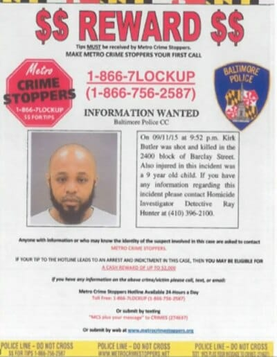 Baltimore shooting wanted poster