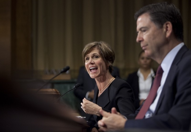 Deputy Attorney General Sally Quillian Yates (left), joined by FBI Director James Comey, testifies during a July Senate Judiciary Committee hearing in Washington. (Photo: Associated Press)