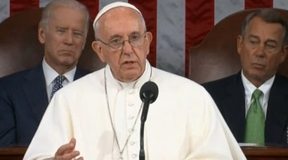 Pope's historic address to Congress mentions 'shameful arms trade'