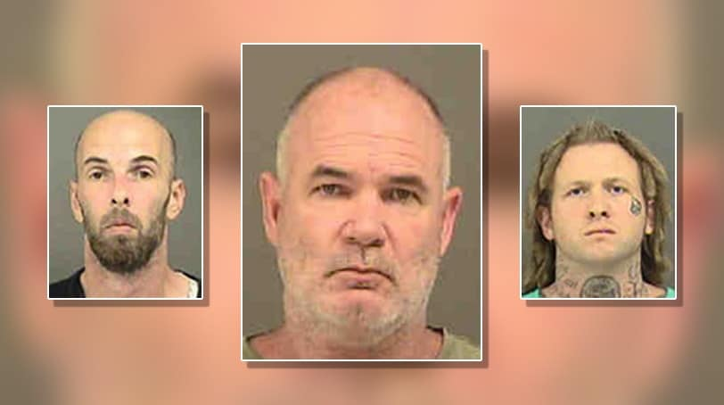 From left: Christopher James Barker, 41, Walter Eugene Litteral, 50, and Christopher Todd Campbell, 30.
