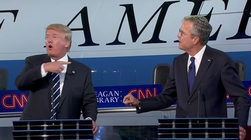 Presidential candidates Donald Trump and Jeb Bush square off at the second round of Republican debates hosted by CNN Wednesday, Sept. 17, 2015.
