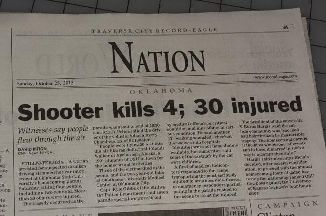 Newspaper headlines OSU homecoming crash as mass shooting