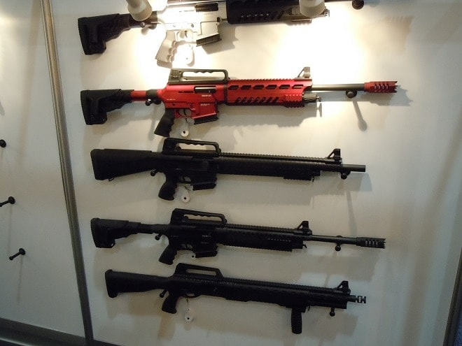 Several international firearms makers were on hand including the Turkish firm of Derya who had a full range of their MK-10 12 gauge semi-autos on display. These aluminum-bodied scatterguns have a neat take down system that allows the gun to be separated into two halves for transport and storage.