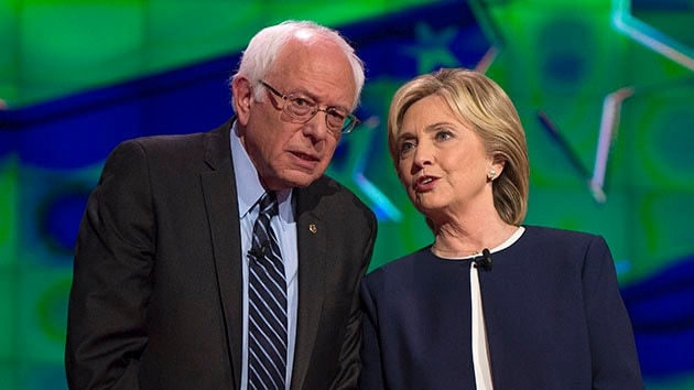 Oct.13, 2015 - Las Vegas, Nevada, U.S. -  BERNIE SANDERS and HILLARY CLINTON chat during the photo spray at the first Democratic Presidential Debate of the 2016 campaign. Five Democratic contenders will take the debate stage for the first time Tuesday evening.(Photo: ZUMA)