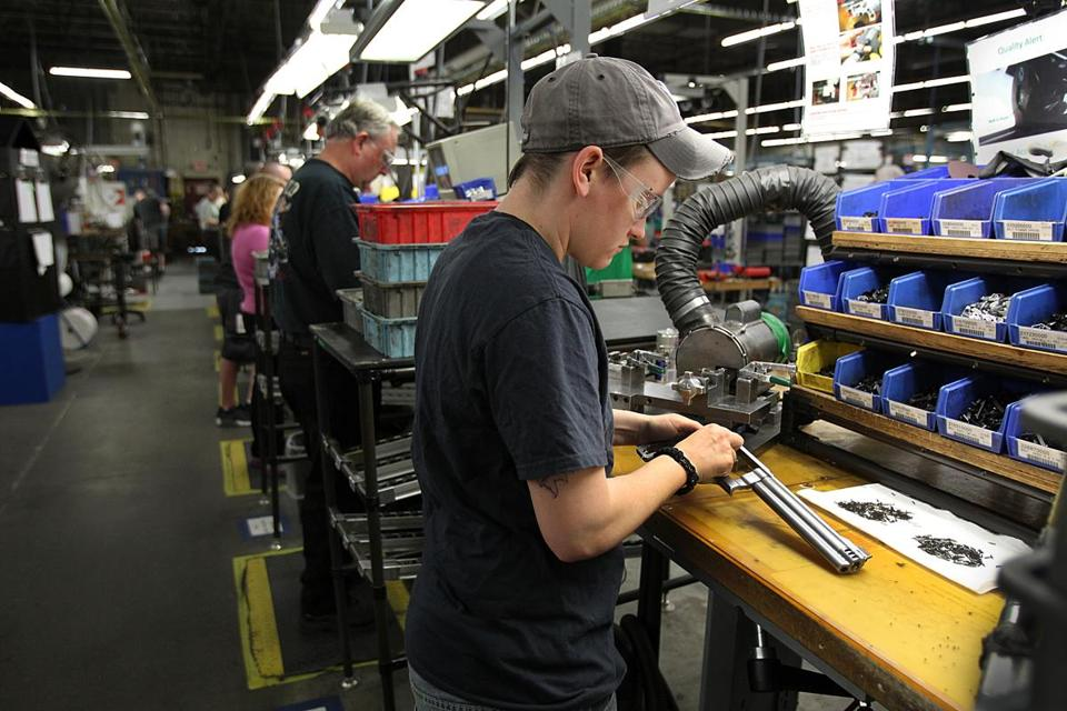 Guns being assembled at the Smith & Wesson factory in Springfield, Mass. (Photo: Boston Globe)