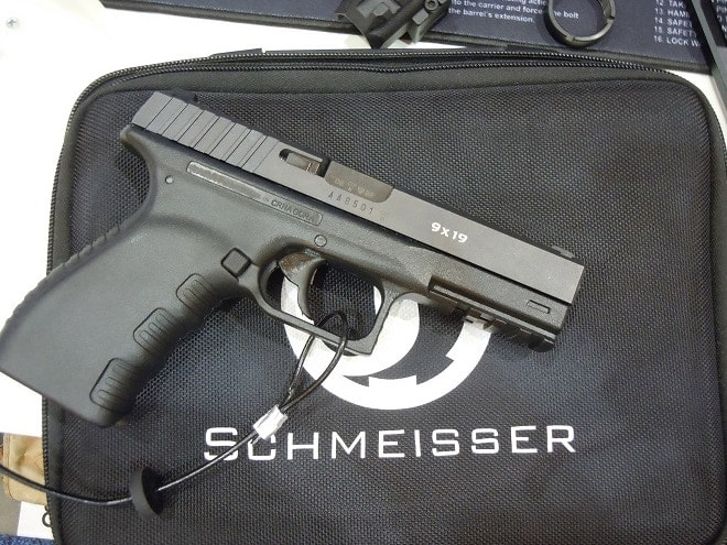 Another overseas firm, German-based Schmeisser, currently looking for an importer, was on site with their 17-shot SLP-9, striker-fired (that works exactly like a DA/SA) polymer-framed semiauto with a second-strike capability and interchangeable back straps.