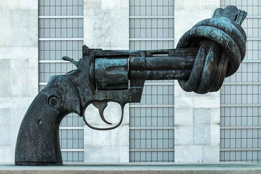 """The Gun Knot"" sculpture in New York"