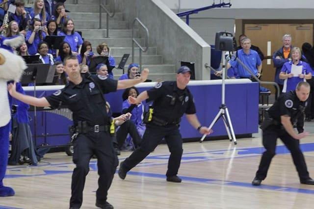dancing officers