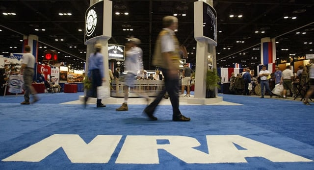 An NRA booth at a trade show.