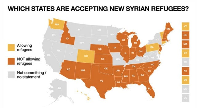 us states accepting Syrian refugees chart
