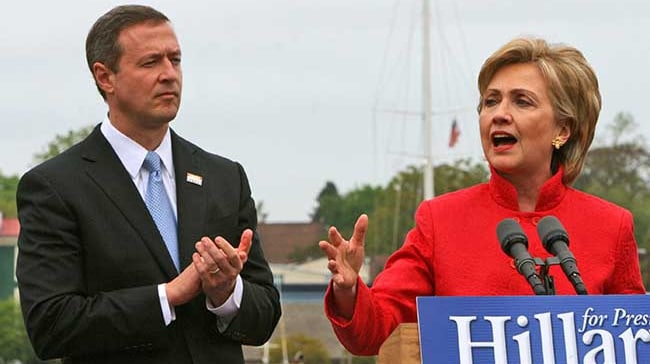 New York Sen. Hillary Rodham Clinton speaks about her campaign for the 2008 presidency after being endorsed by Maryland Gov. Martin O'Malley, left, at City Dock in Annapolis, Md., on Wednesday, May 9, 2007. (AP Photo/Kathleen Lange)