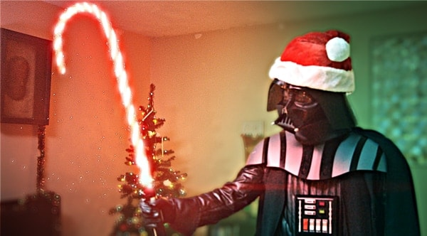 Lord Vader's heart almost melts as he fills in for Santa (VIDEO)