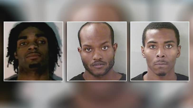 Robbery suspects (from left) Deviyon Smith, Rorrie Scales, Conteshio Lawrence
